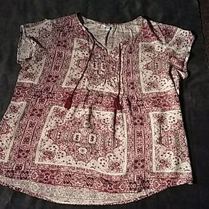 Sonoma, boho style blouse. Red, pink and white